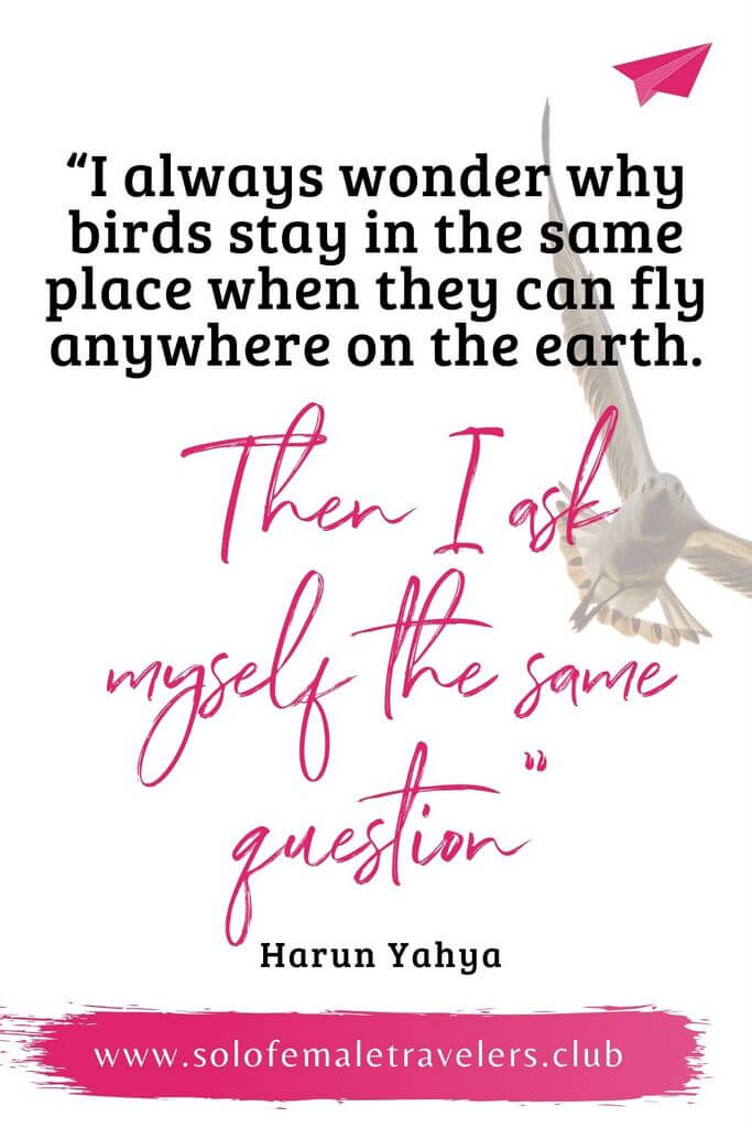 """""""I always wonder why birds stay in the same place when they can fly anywhere on the earth. Then I ask myself the same question"""" – Harun Yahya"""