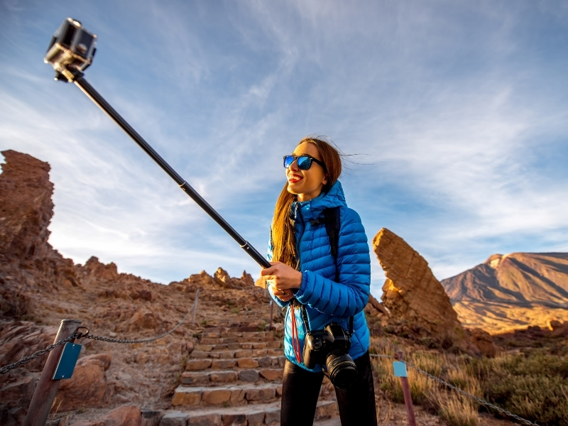 Selfie stick for solo travel